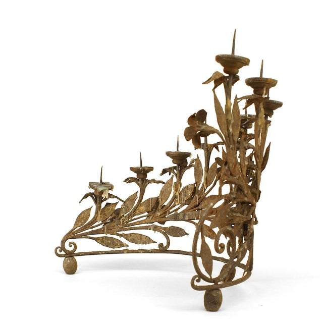 Renaissance Revival Pair of Italian Renaissance Style Wrought Iron Candelabra For Sale - Image 3 of 6
