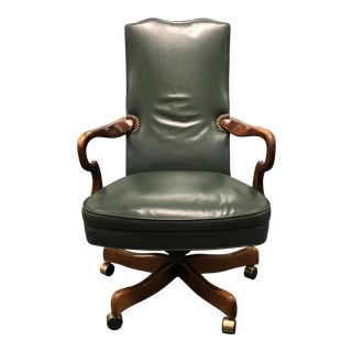 Green Leather Wood Swivel Office Chair