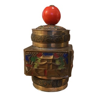 Antique Chinese Brass & Enamel Tea Snuff Jar For Sale