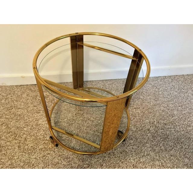 Italian Modernist Design Round Polished Brass Bar Cart - Image 6 of 9