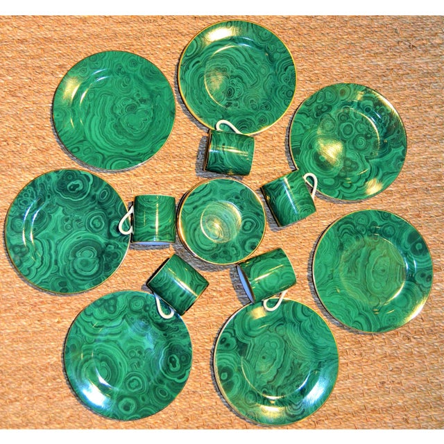 Neiman Marcus Malachite Dinnerware - Set of 19 For Sale - Image 4 of 10