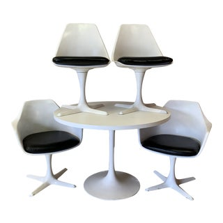 1960s Vintage Burke Tulip Table and Chairs- 5 Pieces For Sale