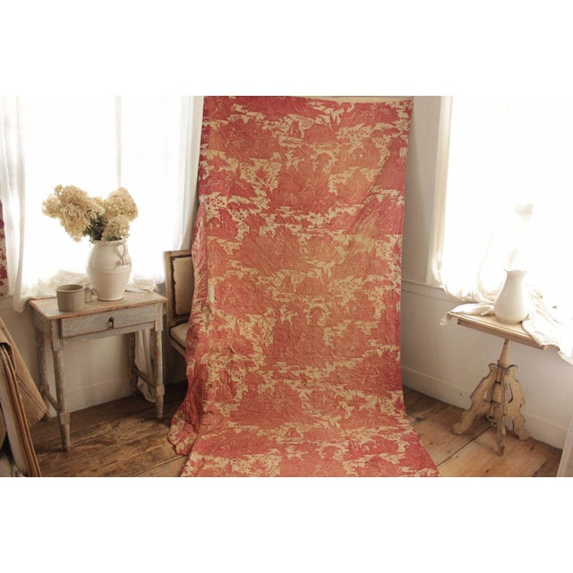 Antique French Toile l'Art d'Aimer Chef De Piece Bordeaux Coverlet For Sale - Image 9 of 12