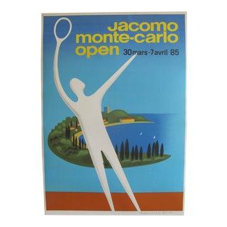 1985 Original Fix Masseau Poster, Jacomo Monte Carlo Open (Artist Signed) For Sale