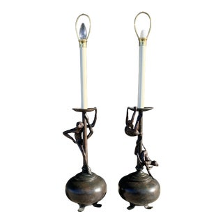 Maitland Smith Bronze Monkey Lamps - a Pair For Sale