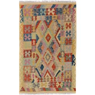 Arya Edmond Beige/Blue Wool Kilim Rug - 3'3 X 4'11 A9216 For Sale
