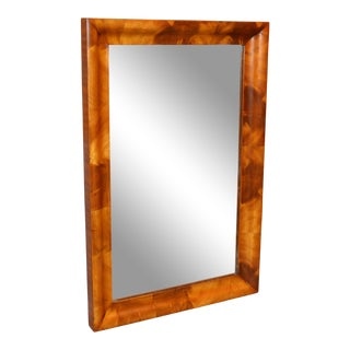 19th Century Vintage American Empire Crotch Mahogany Rectangular Wall Mirror For Sale