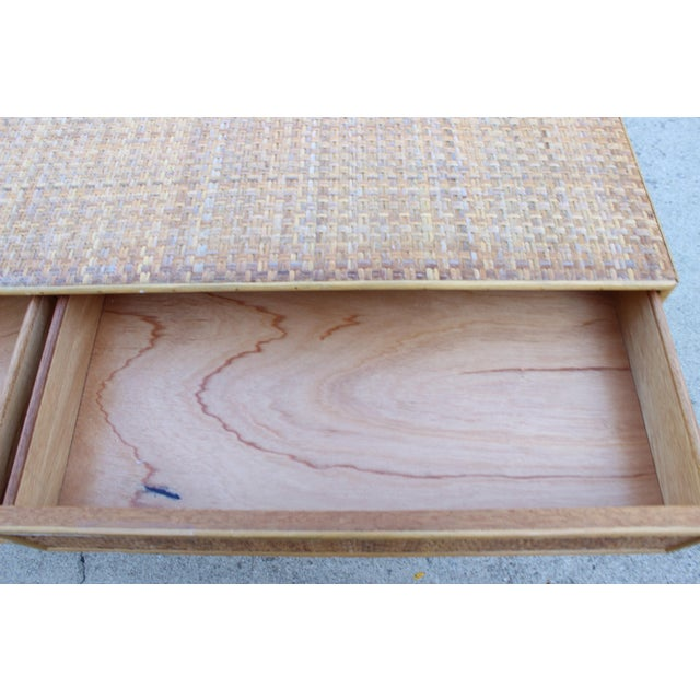 Tan Vintage Italian Dal Vera Bamboo Woven Rattan MCM Desk/Console For Sale - Image 8 of 9