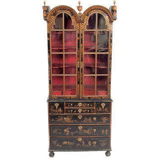 Period Queen Anne Japanned Cabinet on Chest With Red Interior