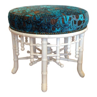 """Brighton"" Lacquered Faux Bamboo Ottoman For Sale"