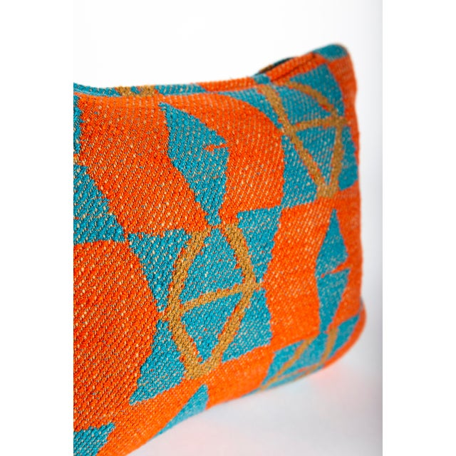 Orange and Blue Triangles Pillow For Sale - Image 4 of 7