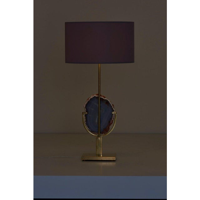 Pair of Stunning Agate Stone and Brass Table Lamps in the Manner of Willy Daro For Sale - Image 6 of 9