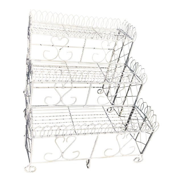 20th Century Cottage Ornate Metal Plant Stand For Sale