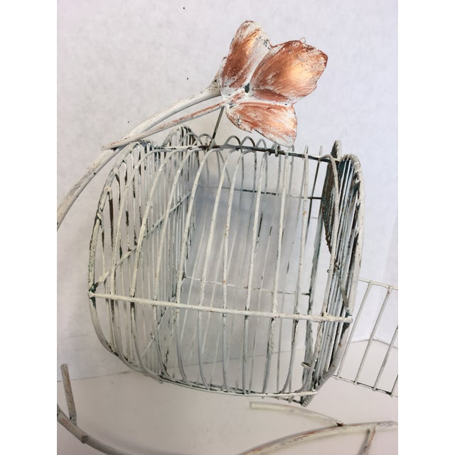Vintage Heart Shaped Bird Cage on a Stand - Image 4 of 4
