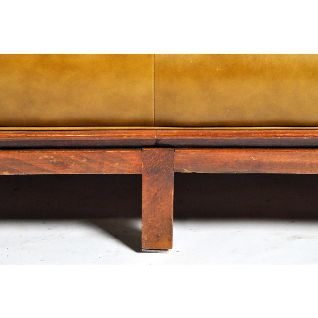 Mid-Century Modern Green Leather Sofa With Hardwood Base by Edward Wormley For Sale - Image 10 of 11