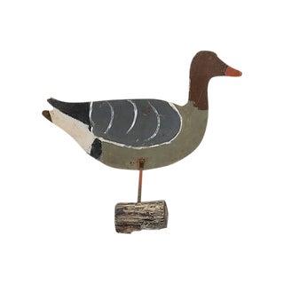 Vintage Folk Art Painted Duck Garden Ornament For Sale