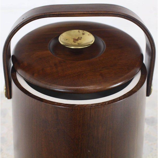 Lacquer American Walnut Danish Modern Style Ice Bucket with Lid For Sale - Image 7 of 8