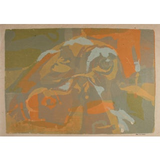 Carol Cunningham Mid Century Modern Abstract Serigraph on Paper in Orange Brown Tan Green 1960-1970's For Sale