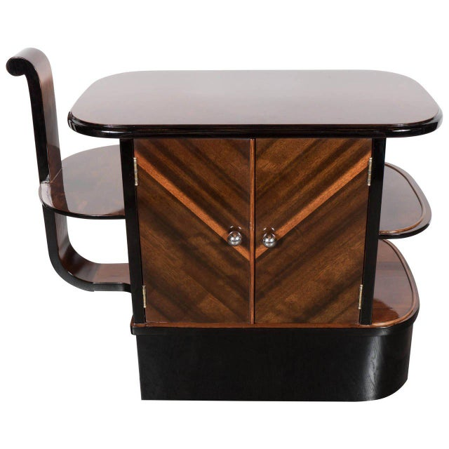 Streamlined Art Deco End Table or Dry Bar Cabinet in Book-Matched Exotic Walnut For Sale - Image 10 of 10