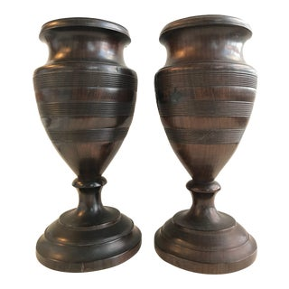 19th Century Pair of Turned Walnut Vases