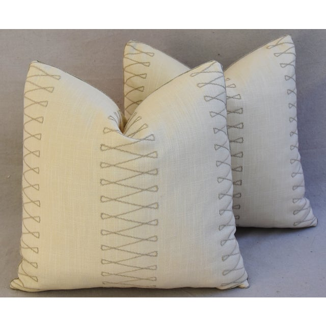 "Pair of large custom-tailored pillows in a vintage/never used Old World Weavers embroidered linen fabric called ""Cuba..."