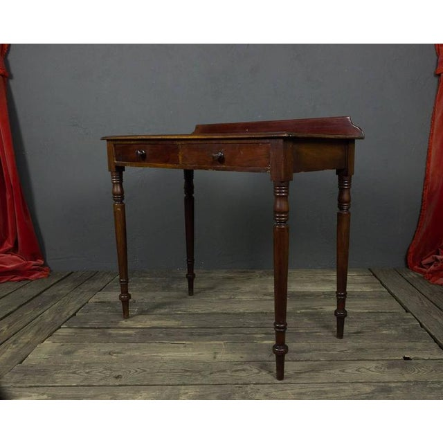French 19th Century Mahogany Desk With Two Drawers For Sale - Image 4 of 11