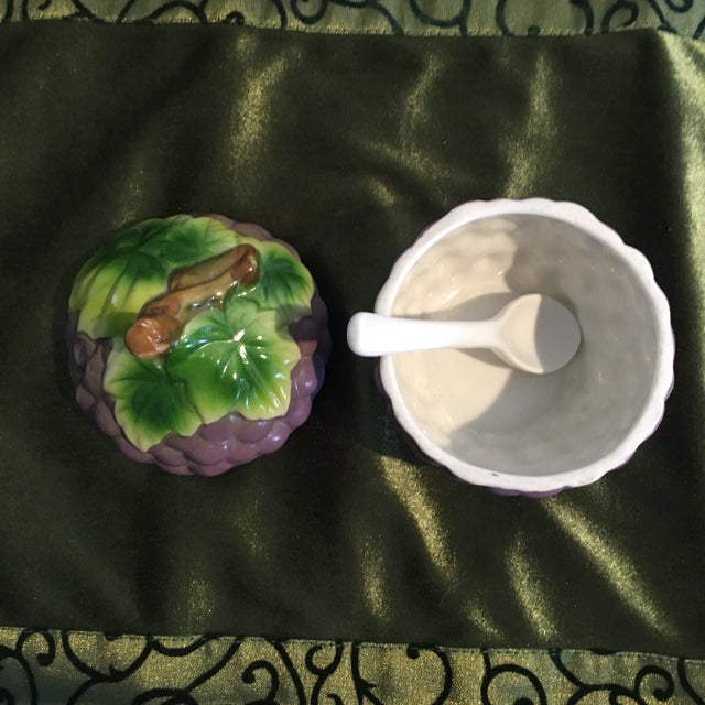 Mid 20th Century Vintage Grape Cluster Jam Tromp L'oeil Container Dish With Spoon For Sale - Image 5 of 7