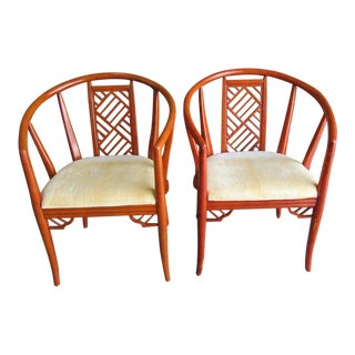 Asian Inspired Fretwork Chairs- A Pair For Sale