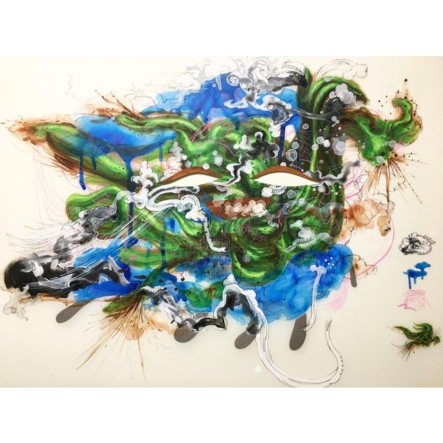 Ink and Acrylic, Hanji on Mylar In her image- and color-saturated paintings and prints, Jiha Moon mashes up materials,...