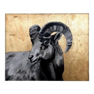 Billy Goat Original Painting With Gold Leaf For Sale