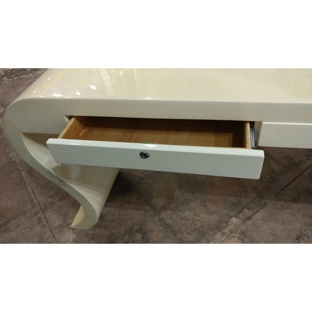 Lacquered Goat Skin Console Table For Sale - Image 4 of 8