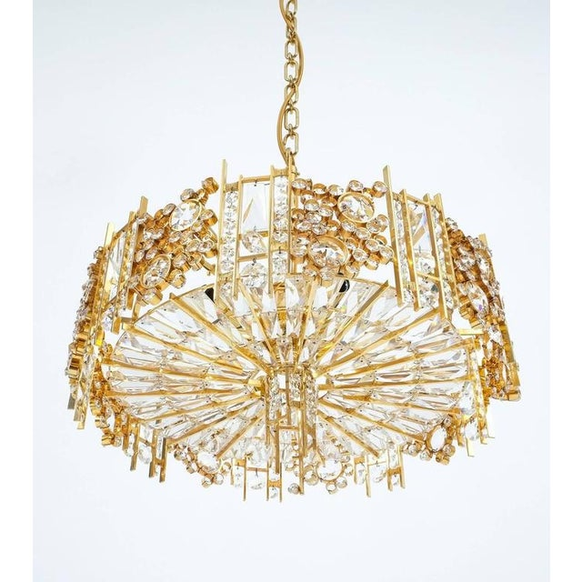 1960s Palwa Pair Golden Brass Crystal Glass Encrusted Chandeliers, Germany 1960 For Sale - Image 5 of 8