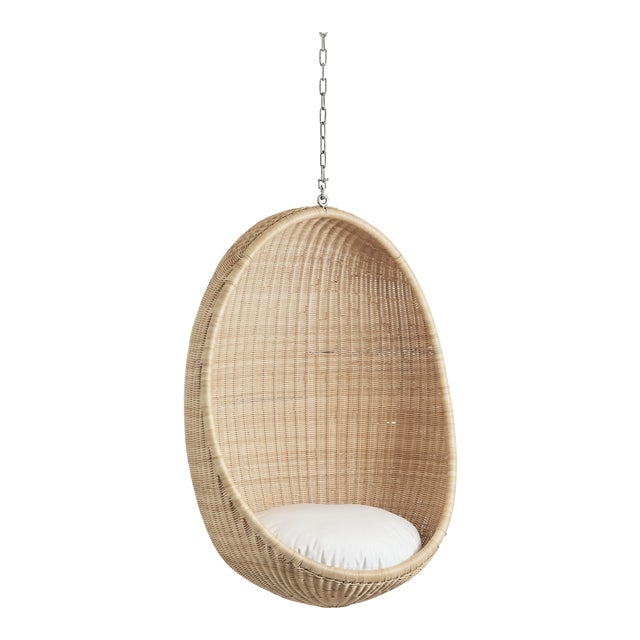 Nanna Ditzel Hanging Egg Chair - Natural - Tempotest White Canvas Cushion with 5 Foot Chain For Sale