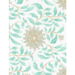 Ferran Ming Rose Fabric, 2 Yards, Ecru in French Cotton Twill For Sale
