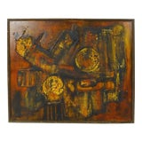 Image of 1960s Vintage Abstract Mixed Media on Canvas Painting For Sale
