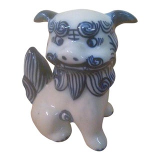 Antique Blue and White Ceramic Foo Dog Sculpture