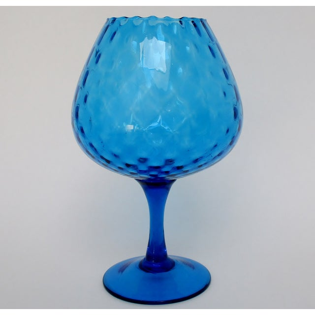 Mid-century Arabesque-patterned optic blown glass goblet vase from Italy, in a bright peacock blue shade and finished with...