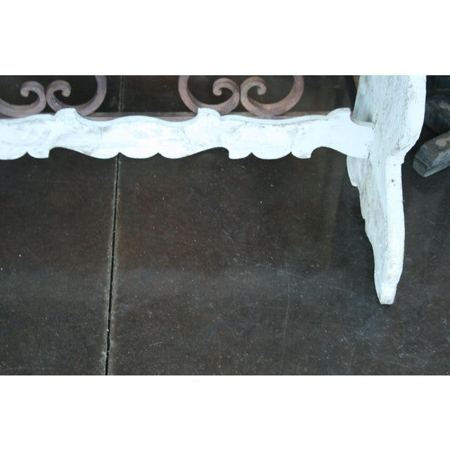 Late 20th Century Italian Demilune Trestle Style Console Table For Sale - Image 5 of 9