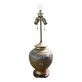 Round Form Stone Finial Champleve Lamp