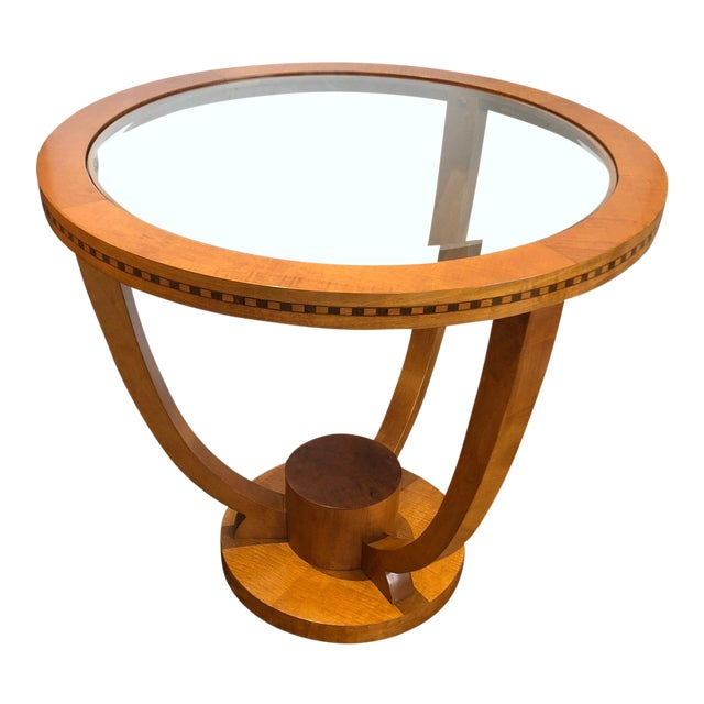 Art Deco Wood and Bevelled Glass Round End Table For Sale