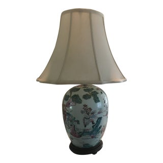 Vintage Japanese Hand Painted Table Lamp For Sale