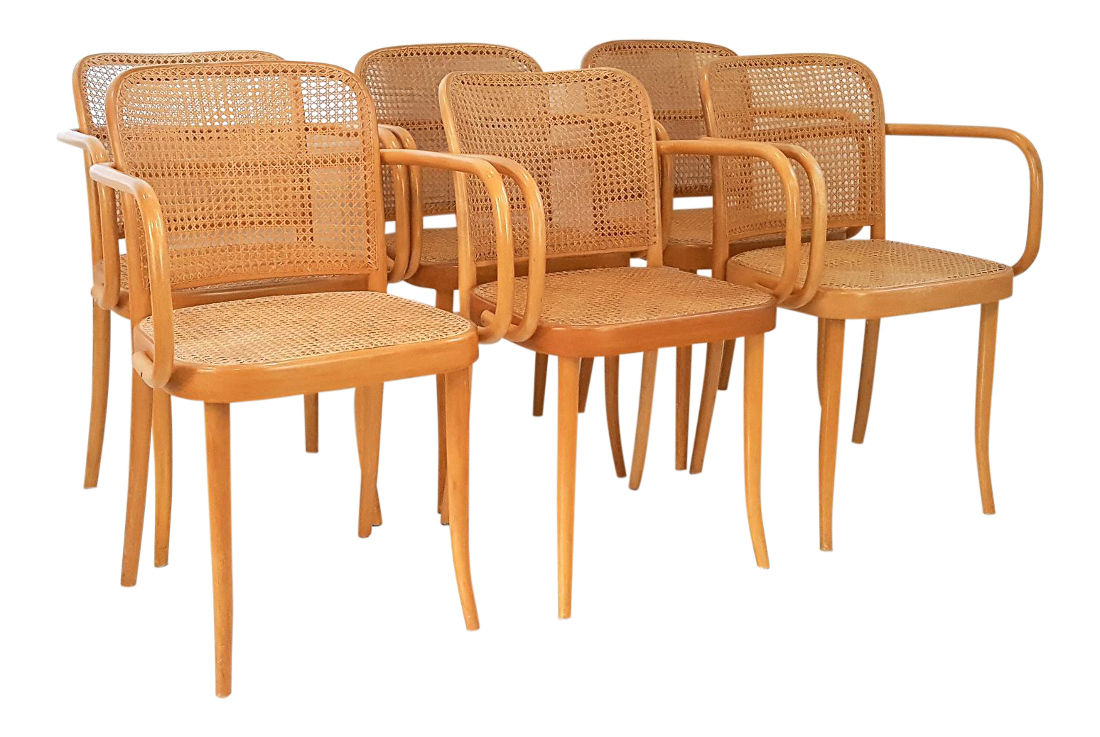 Vintage Stendig Cane Bentwood Dining Chairs  Set Of 6