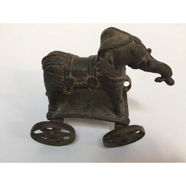 Gold Antique Cast Bronze Temple Toy Elephant on Wheels India For Sale - Image 8 of 13