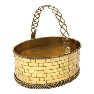 Vintage Woven Brass Oval Basket For Sale