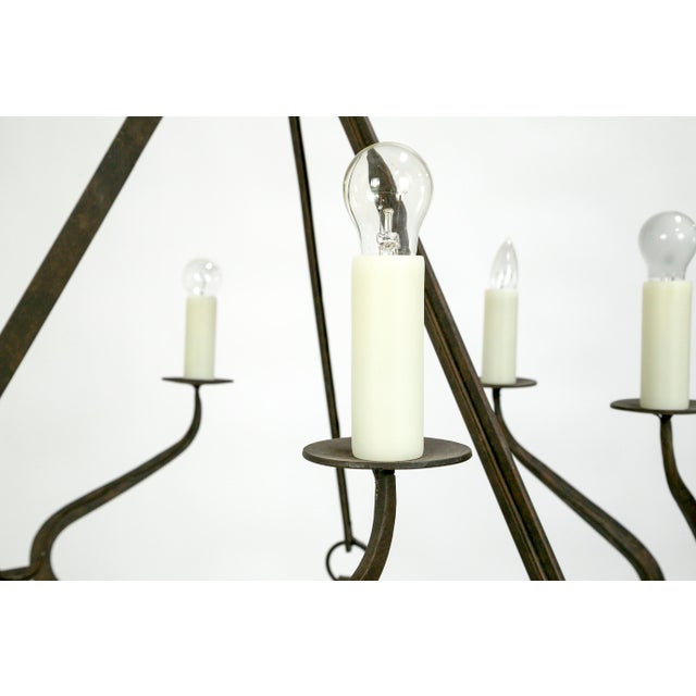 Rustic Iron Wavy Armed Chandelier For Sale - Image 9 of 11