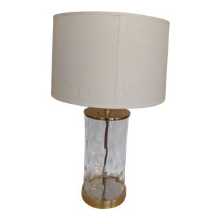 Contemporary Cylindrical Glass Table Lamp With Brass Accents For Sale