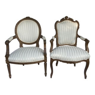 Vintage French Provincial Chairs a Pair For Sale