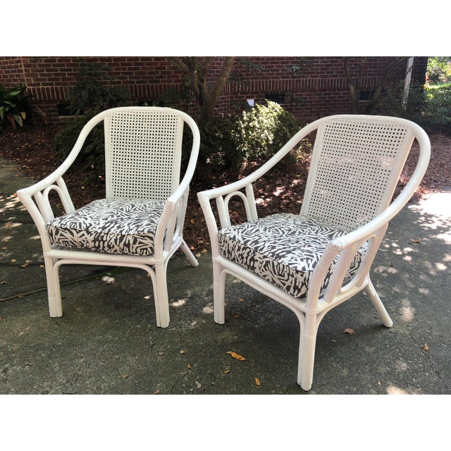 Vintage Mid Century White Rattan Arm Chairs- A Pair For Sale - Image 12 of 12