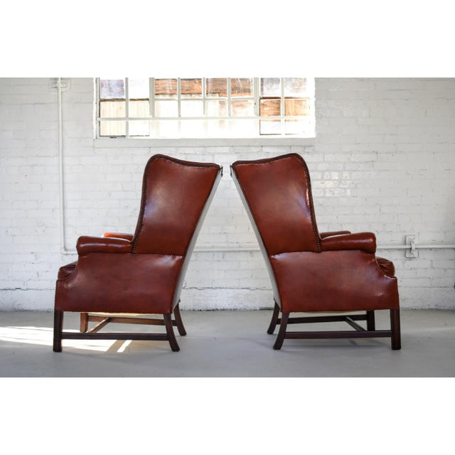 Leather Vintage Marbled Red Leather Georgian H-Base Wingback Fireside Chairs - Pair For Sale - Image 7 of 13