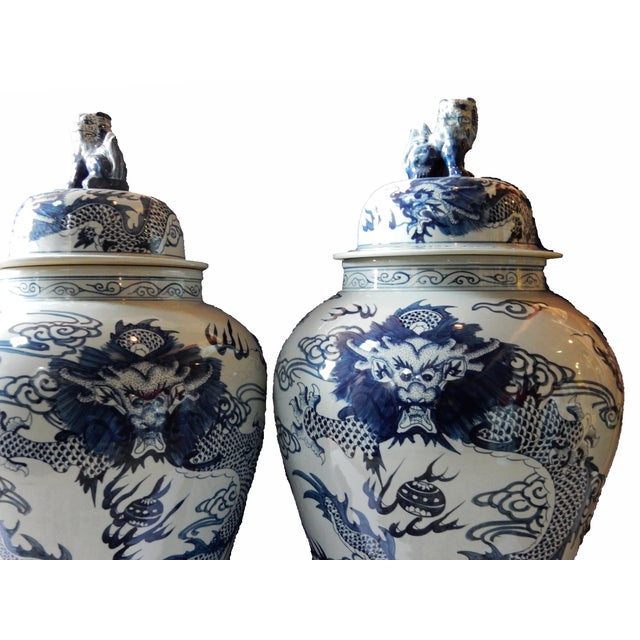 Mansion Size H. Painted Dragon Ginger Jars - a Pair - Image 4 of 9